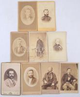 cca 1870-1910 9 db műtermi férfiportré, keményhátú fotók különböző műtermekből(Schemnitz, Wien, Szliacs, Pest, stb.), 11x7 cm