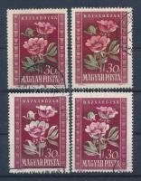 1950 Virág (I.) 4 x 30f klf színeltolódásokkal
