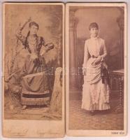 cca 1870 Hölgy egész alakos műtermi portréja, losonci és nagybányai műtermekből, 2 db, 21x10 cm