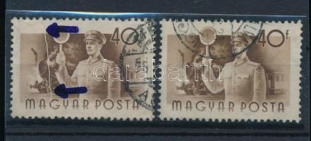 1955 Munka 40f teljes bélyegen átfutó papírránc + támpéldány