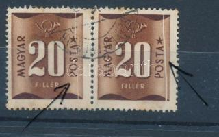 1951 Barnaportó 20f pár mindkét bélyegen végigfutó papírránc