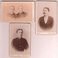 cca 1890 Selmecbánya, Férfiportrék, 3 db keményhátú fotó Baker Alajos selmecbányai műterméből, 10x6 cm