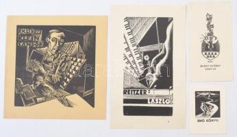 Buday György (1907-1990): 4 db ex libris, fametszet, papír, jelzettek a metszeten, különböző méretben