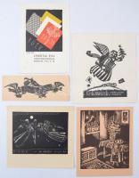 Vadász Endre (1901-1944): Ex libirisek, alkalmi grafikák, linó és fametszet, jelzett a metszeten, különböző méretben, összesen: 5db