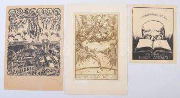 Nagy Árpád (1894-1959) és Gábrojáni Szabó Kálmán (1897-1955): Ex libris ( 3 db). Rézkarc és fametszet, papír, egyik aláírt másik jelzett a karcon, 9×5-11×9 cm (2×)