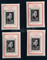1953 Sztálin gyász 4 db blokk alkalmi bélyegzésekkel