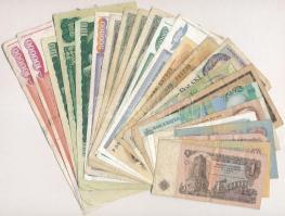 25db-os vegyes, főként jugoszláv és csehszlovák bankjegy tétel, közte Csehszlovákia 1960. 10K, NDK 1970. 10M T:III,III- 25pcs of various, mainly Yugoslav and Czechoslovak banknotes, including Czechoslovakia 1960. 10 Korun, GDR 1970. 10 Mark C:F,VG