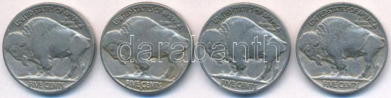 Amerikai Egyesült Államok 1934-1936. 5c Cu-Ni Buffalo (4xklf) T:3 USA 1934-1936. 5 Cents Cu-Ni Buffalo (4xdiff) C:F Krause KM#134