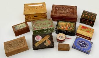 11 db különféle fa, karton és fém doboz, modern és régi, egy sérült, különböző méretben, 7×4-18×25 cm
