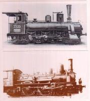 6 db régi mozdonyokat ábrázoló fotó, modern előhívások, 10x18 cm