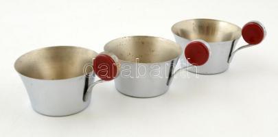 3 db retró fém csésze, d: 8 cm, m: 4,5 cm