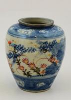 Jelzett kínai váza, kézzel festett, hibátlan, m:9 cm