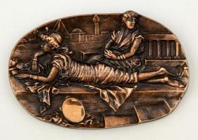 Római csendélet, bronz fali dísz, 16x10 cm