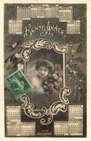 Bonne Année / New Year greeting postcard, calendar, lady