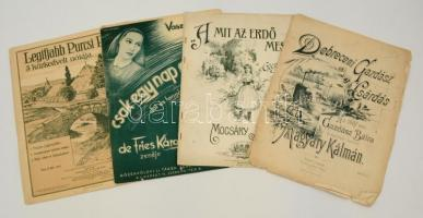 4 db illusztrált kotta (Csak egy nap a világ, Amit az errdő mesél, Debreceni Gazdász Csárdás, Legifjabb Purcsi Pepi 3 közkedvelt nótája), változó állapotban.