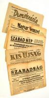 1945-1948 Vegyes újság tétel, 5 db ( Szabadság I. évf. 6. szám, Demokrácia V. évf. 23. szám, Magyar Nemzet III. évf. 57. szám, Szabad Nép V. évf. 40. szám, Kis Újság húsvéti szám), változó, többnyire szakadozott állapotban.