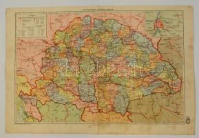 cca 1910 Magyarország beosztásának térképe, vászontérkép, 30x46 cm