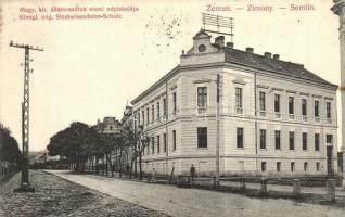 Zimony, Zemun, Semlin; Magyar királyi államvasutak elemi népiskolája, kiadja A. Stepner (EK)