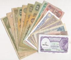 Vegyes 15db-os papírpénz tétel, benne egyiptomi, pakisztáni és az arab emirátusok bankjegyei T:I,III Mixed 15pcs of papermoney, including Egyptian, Pakistani and United Arab Emirates banknotes C:UNC,F