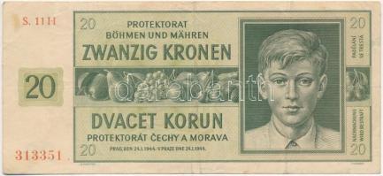 Német 3. Birodalom / Cseh-Morva Protekorátus 1944. 20K T:III German Third Reich / Protectorate of Bohemia and Moravia 1944. 20 Korun C:F Krause 9.a