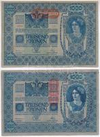 1919. (1902) 1000K függőleges piros DEUTSCHÖSTERREICH felülbélyegzéssel, mindkét oldal német + 1919. (1902) 1000K vízszintes piros DEUTSCHÖSTERRECIH felülbélyegzéssel, hátlap rajzos T:III egyik szép papír Adamo SK35/1, SK35/2