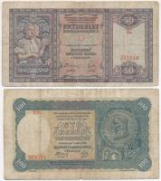 Szlovákia 1940. 50K + 1940. 100K T:III Slovakia 1940. 50 Korun + 1940. 100 Korun C:F Krause 9.a, 10.a
