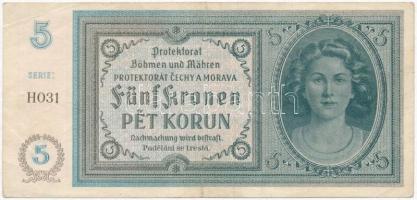 Német 3. Birodalom / Cseh-Morva Protektorátus 1940. 5K T:III German Third Reich / Protectorate of Bohemia and Moravia 1940. 5 Korun C:F Krause 4.a