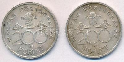 1992. 200Ft Ag MNB (2x) T:2 patina Adamo F13