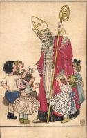 Christmas greeting card, Saint Nicholas with children and toys, P.G.W.I. s: HMS (EK)