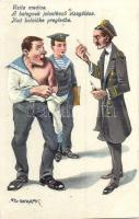 A betegnek jelentkező vizsgálása / K.u.K. mariners humour, doctor, medicine, examination, C. Fano Pola s: Ed Dworak