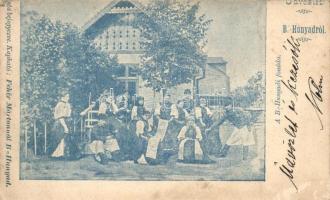 Bánffyhunyad, Huedin; Fonoda, folklór, Fehér Márton kiadása / Spinning mill, Transylvanian folklore (EK)