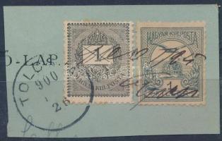 1900 1kr + 1f vegyes bérmentesítés kivágáson