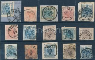 1850 15 db bélyeg szép/olvasható bélyegzésekkel