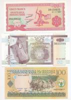 Vegyes: Burundi 2007. 20Fr + 2005. 50Fr + Ruanda 2003. 100 Fr T:I Mixed: Burundi 2007. 20 Francs + 2005. 50 Francs + Rwanda 2003. 100 Francs C:UNC