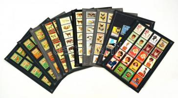 180 db belga gyufacímke, 10 kartonlapon (Reklám, állatok, kutyák..stb)