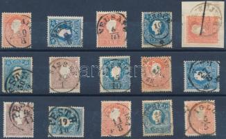1858 15 db bélyeg szép/olvasható bélyegzésekkel