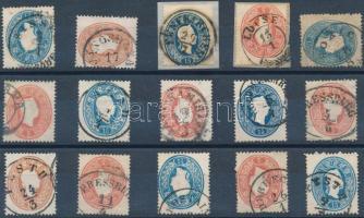 1861 15 db bélyeg szép/olvasható bélyegzésekkel