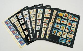 204 db német gyufacímke, 10 kartonlapon (Téli sport, karikatúrák)