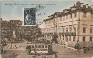 Porto, Praca de Batalha e Edificio de Correio Geral / Batalha square, General Mail building, post, tram with advertisement, TCV Card (EK)