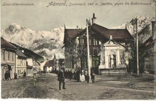 Admont, Leopoldinenbrunnen / well, spa, mountains (b)