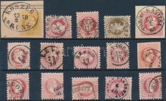 1867 15 db bélyeg szép/olvasható bélyegzésekkel