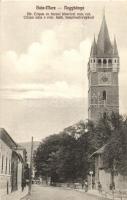 Nagybánya, Baia Mare; Crisan utca, Római katolikus templomtorony / street, church tower
