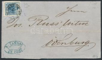 1854 9kr levélen BAHNHOF PESTH