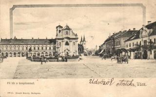 Vác, Fő tér templommal. Divald Károly (fa)