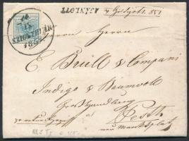 1851 9kr + (a hátoldalon) a tértivevénnyel részben letépett 2 x 3kr ajánlott levélen SZIGETHVÁR - PESTH