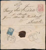 1872 Ajánlott 5kr díjjegyes levél Réznyomat 10kr díjkiegészítéssel UJ MOLDOVA - SISAK