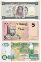 Vegyes: Eritrea 1997. 1N + Nigéria 2006. 5N + Zambia 1992. 20K T:I nyomdai papírránc Mixed: Eritrea 1997. 1 Nakfa + Nigeria 2006. 5 Naira + Zambia 1992. 20 Kwancha C:UNC printing crease Krause 1; 32; 36