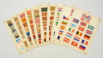 194 db közepes és 3 db nagy svéd gyufacímke, 10 db kartonlapon (Zászlók, reklám, hajók)