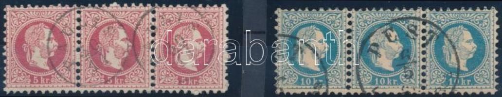 1867 5kr és 10kr vízszintes 3-as csíkok PAULIS és PEST bélyegzéssel, 10kr ritka