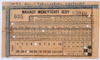 1951 MÁVAUT menettérti jegy